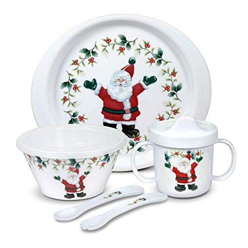 Pfaltzgraff Winterberry Melamine 5 Piece Kids Santa Dinnerware Set