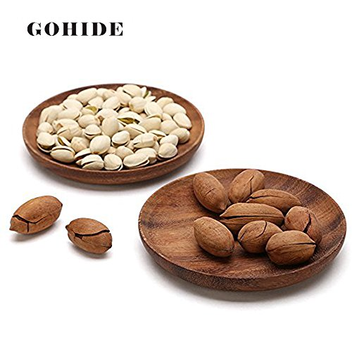 2pcslot Plate Acacia Wooden Japanese Food Sweets Fruit Dessert Coffee Dish Round Wood Dinner Tableware Plates Tray Home Decoration HSU CX