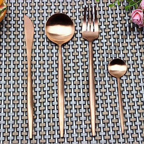 Besplore Dinner Tableware Dessert Spoon FlatwareLuxury Flatware Set4-PieceRose Gold
