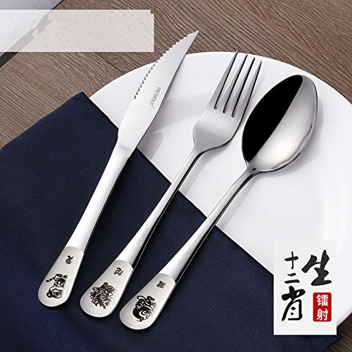 Xing Lin Stainless Steel Tableware Set Lovely Cartoon Children Stainless Steel Dinner Tableware Household Steak Fork Spoon Three Pieces Full SuitThree Pieces Of Knives And Fork Spoons  Horses