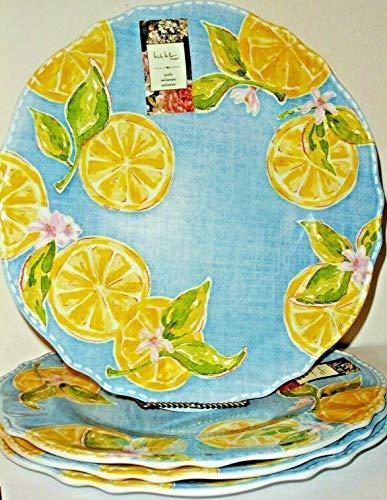 Nicole Miller Lemons Melamine Dinner Plates Set of 4 Country Style Blue Denim