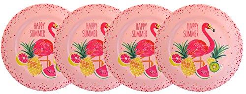 Pink Flamingo Tropical Fruits Melamine Dinner Plates Set of 4