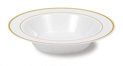 Select Settings 50 12 oz Soup Bowls - White with Gold Rim Plastic Disposable Bowls