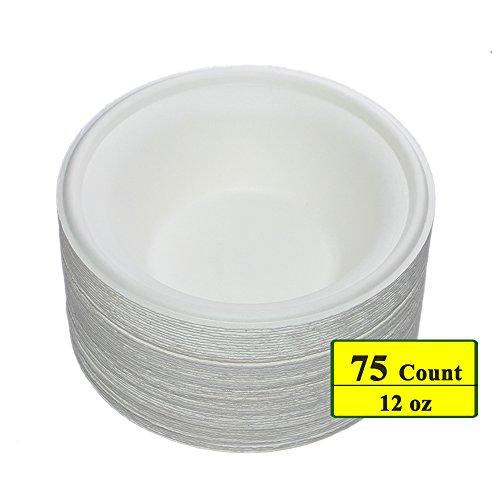 Benail 12 oz Round Disposable Bowls Eco-friendly 100 Natural Sugarcane Biodegradable Compostable Bagasse Tree Free and Plastic Free 75