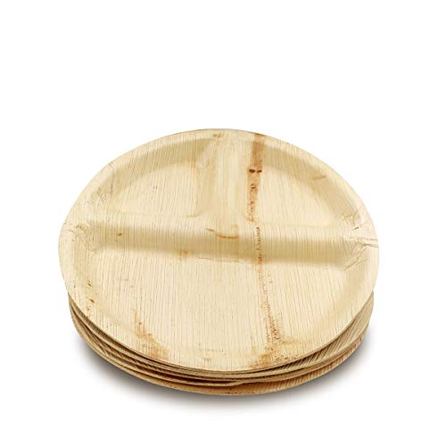 Dtocs Palm Leaf Plates 10 Inch Round 3 Compartment Pack 25 Organic Eco-Friendly Biodegradable Compostable Disposable Dinnerware Set for Camping Birthday Party- Sturdy as Bamboo Wood Plastic