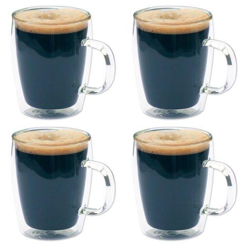 4 x Double Wall Glass Thermo Bistro Mugs - Coffee  Tea - 10oz  300ml - SALE PRICE
