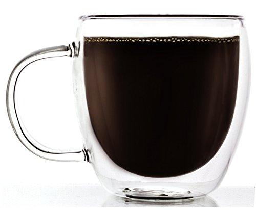 Brava Double-Wall Insulated Thermo Borosilicate Clear Glass Mug 85 Ounce -Set of 2
