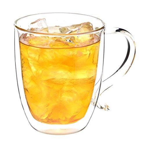 GROSCHE Cyprus Heatproof Insulating Double Walled Glass Mug - Large Capacity 500 ml 16 fl oz capacity Excellent Tea Mug or Coffee Mug