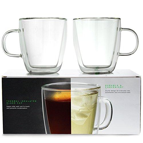 LINKYO Glass Coffee Cup - Double Wall Insulated Mugs 2-Pack 375 ml