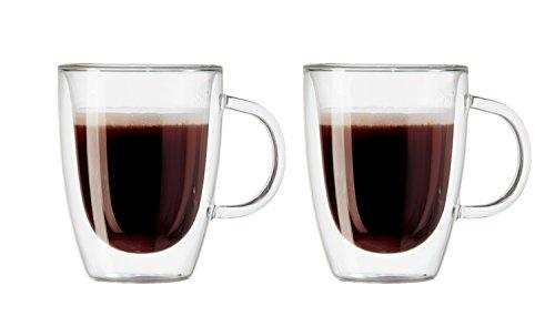 Oggi 6581 Double Walled Insulated 12 oz Borosilicate Glass Bistro Mugs Set of 2 Clear