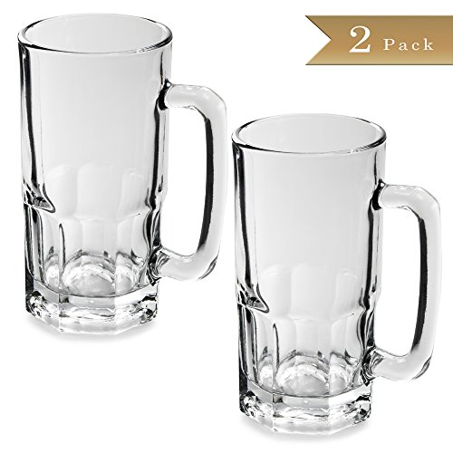 Set of 2 - TrueCraftware German Style - 34 oz Large Glass Beer Mug