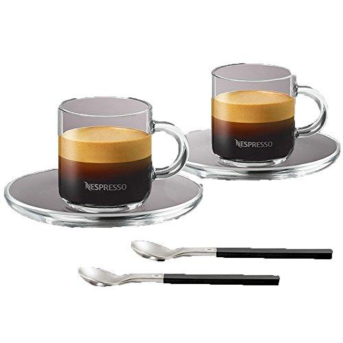 Nepresso Glass espresso Cups Saucer and Spoons