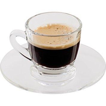ROMI Marketing 3-Ounce Demitasse Clear Glass Espresso Drinkware Set of 2 CupsSaucers Hostess Elegant Dessert Coffee LoverEnthusiast Espresso Lungo Macchiato Americano Turkish Moka