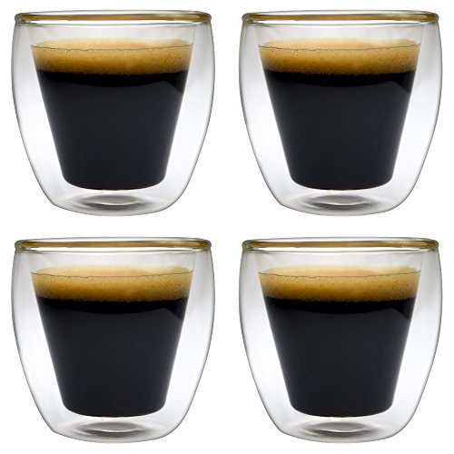 Realglass 2-Oz Double Wall Insulated Borosilicate Espresso or Spirit Glass cup set of 4