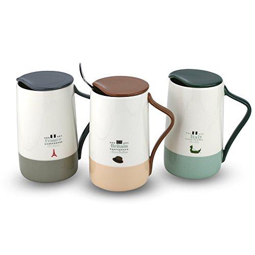 Fine Bone China Coffee Mug 15 oz Fashion Tea Cup for Home Office beige single