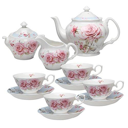 Grace Teaware Bone China 11-Piece Tea Set French Garden