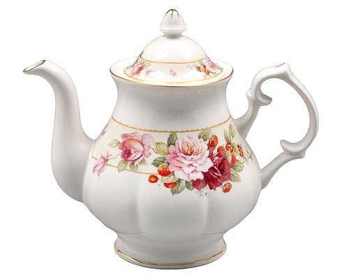 Gracie Bone China 5-Cup Teapot Pink Peony Strawberry