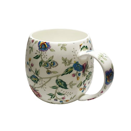 ICON Fine Bone China Floral Mug with Lid Blue 15 oz