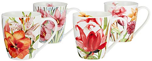 Coffee Mug Tea Mugs Set New Bone China Floral Design Set of 4