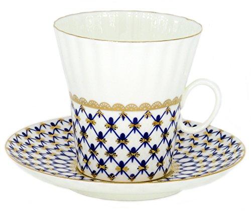 Lomonosov Porcelain Bone China Set Coffee Cup and Saucer Cobalt Net Dandelion
