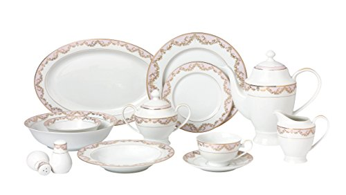 Lorren Home Trends 57 Piece Beauty Bone China Dinnerware Set Service for 8 People Pink