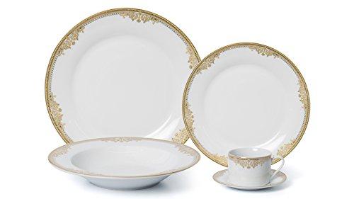 Royalty Porcelain 20-pc Dinner Set for 4 24K Gold Premium Bone China Porcelain 15369G-20