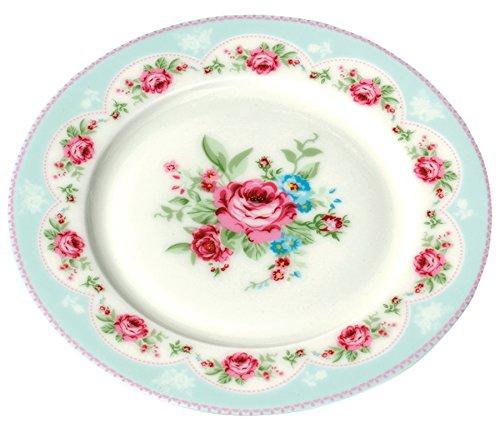 Jusalpha Vintage Blue Rose Bone China Dinner Plate- Fruit Plate-Dessert Plate-8 Inches FLPL04