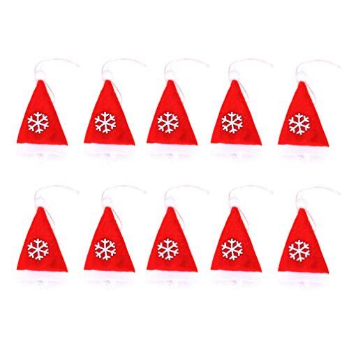 Amosfun 10pcs Christmas Silverware Holders Pockets Santa Hat Christmas Cutlery Holders Socks Christmas tree decorations ornaments