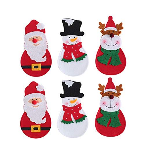 Amosfun 6pcs Christmas Silverware Holder Pockets Santa Snowman Reindeer Knives Forks Bags Cutlery Holders Pockets Christmas Table Decorations