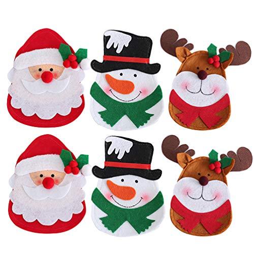 Amosfun 6pcs Christmas Silverware Holder Pockets Santa snowman reindeer Forks Bags Cutlery Holders Pockets Christmas Table Decorations