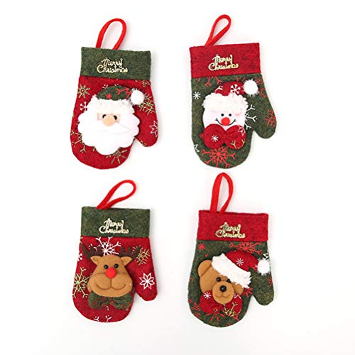 BESTOYARD 4pcs Christmas Silverware Holders Pockets with Glove Pattern Santa Claus Snowman Reindeer Bear Christmas Cutlery Holders Socks