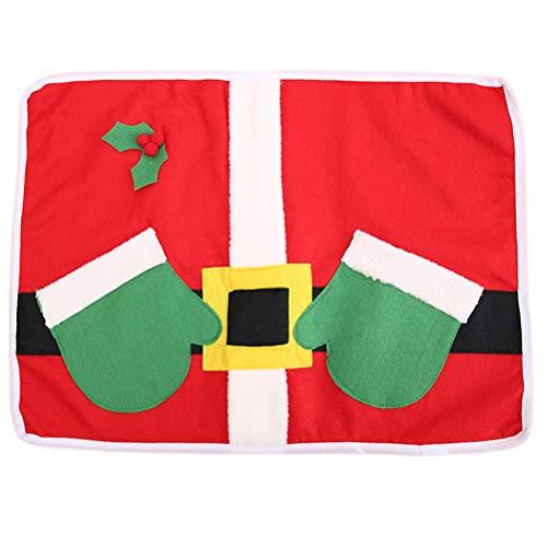 BESTOYARD Christmas Cutlery Holders Placemat Set Santa Claus Silverware Bags Hotel Supplies