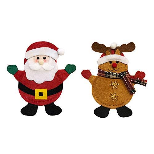 Decdeal Christmas Fork Holders 2pcsSet Christmas Cutlery Holders Fork Knife Spoon Bags Pockets Set Christmas Decor Ornaments