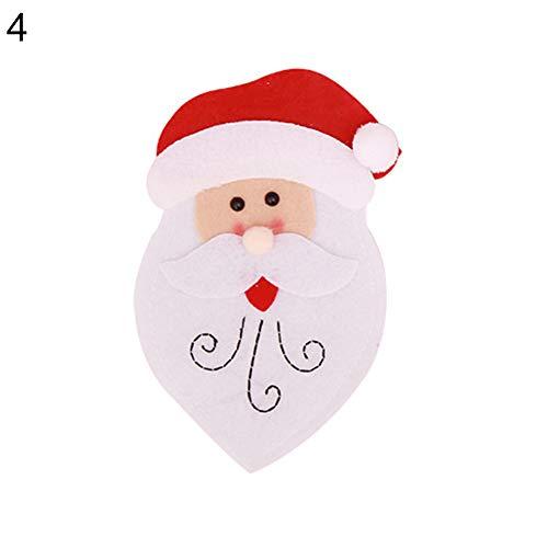 gLoaSublim Christmas Cutlery Holder Tableware Case Silverware Spoon Fork Holder Pocket Santa Dinner Decor - 4