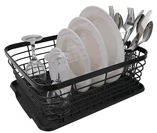 TQVAI Kitchen Dish Drainer Drying Rack with Drainboard Set and Full-Mesh Silverware Utensils Holder Black