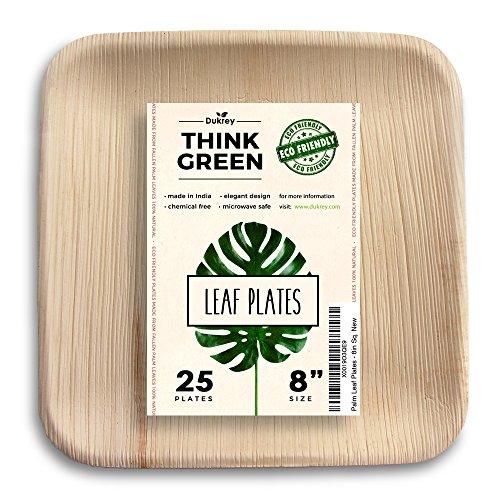 Dukrey Disposable Palm Leaf Plates Square  Compostable  Biodegradable  8 Inch 25 Count