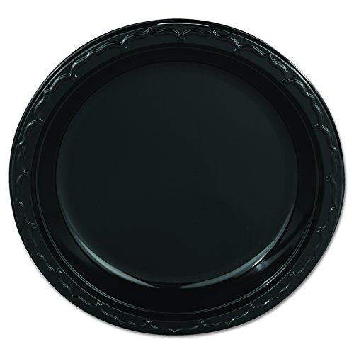 Genpak BLK09 Silhouette Plastic Plates 9 Black Case of 400