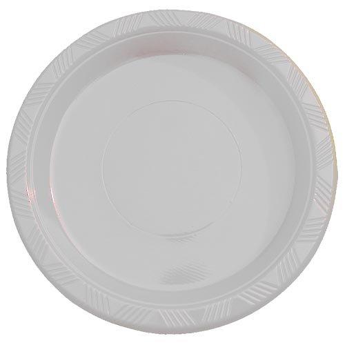 9 White plastic plates - 50 count