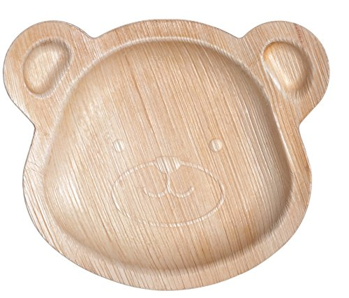 CaterEco Kids Teddy Bear Palm Leaf Plates Set  20 Pack  Size 8 x 6  Ecofriendly Disposable Dinnerware  Heavy Duty Biodegradable Party Utensils for Wedding Camping More