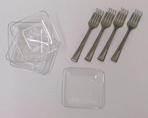 40 25 Mini Square Dessert Plates And 50 4 Mini Silver Tasting Forks 90 Piece Tasting Sampling Dessert Appetizer Set Disposable Plastic Hors Doeuvres Combo Set