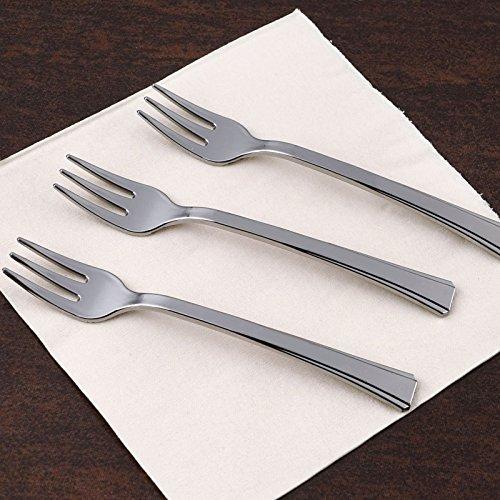 Tableclothsfactory 180 Pcs - 15 Disposable Plastic Silver Dessert Forks - Premiere Collection