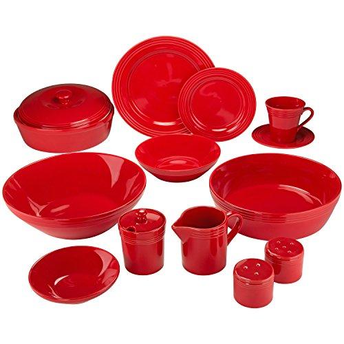 10 Strawberry Street Atlas 45 Piece Dinnerware Set Red