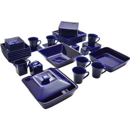 10 Strawberry Street Nova Square Banquet 45-piece Dinnerware Set Cobalt