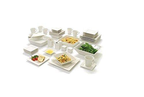 10 Strawberry Street Nova Square Banquet 45-piece Dinnerware Set Cream White by Strawberry Street
