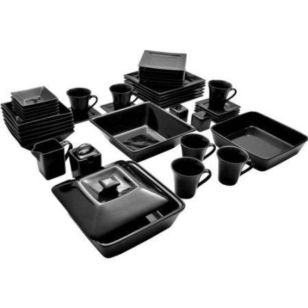 Dinnerware Set Square 45-Piece Set Service 6 Black