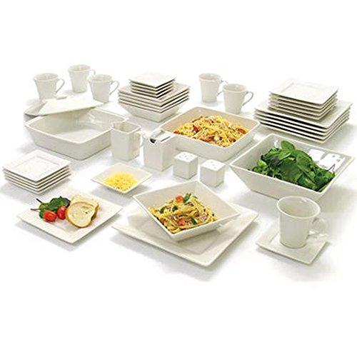 Dinnerware Set Square 45-Piece Set Service 6 White Cream