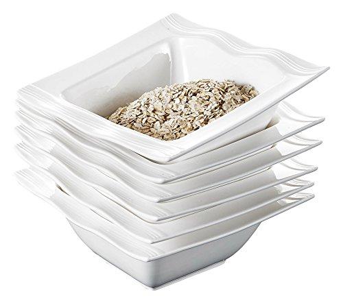 Malacasa 6 Piece Series Mario Ivory Porcelain China Ceramic Cream Cereal Bowls 12 oz White