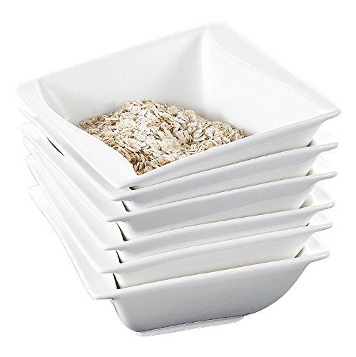 Malacasa Series Carina 6-Piece 525 12oz Ivory White Porcelain Dinnerware Bowl Set Ceramic Cream White Square Cereal Bowls Soup Bowls