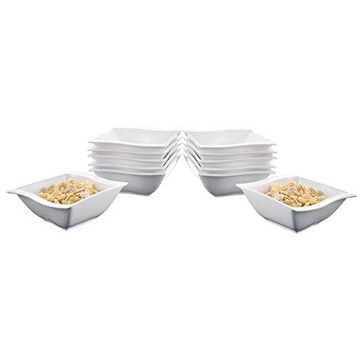 Malacasa Series Flora 12-Piece 575  12oz Ivory White Porcelain China Ceramic Cream White Soup Cereal Bowls Dinnerware Bowl Set