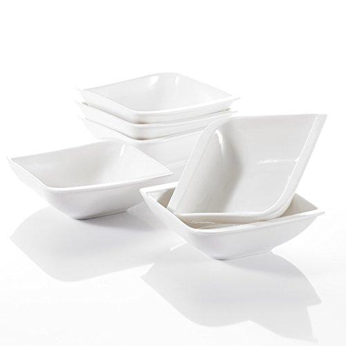 VANCASSO Porcelain Square Cereal Bowls Ceramic Dessert Snack Dishes Ivory White Set Of 6